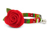 "Christmas Flower Cat Collar Set - ""The Grinch"" - Holiday Cat Collar with Red Felt Flower - Breakaway or Non-Breakaway (Removable Flower)"