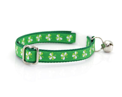 "Bow Tie Cat Collar Set - ""The Lucky One"" - Green Shamrock Collar + Detachable 'Shamrock Shore' Bow Tie"