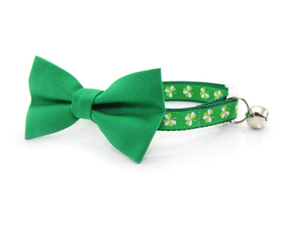 "Bow Tie Cat Collar Set - ""The Lucky One"" - Green Detachable Bow Tie + Emerald Shamrock Collar - St. Patrick's Day"