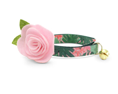 "Cat Collar + Flower Set - ""Tropic Paradise"" - Monstera & Palm Leaf Cat Collar w/ ""Baby Pink"" Felt Flower (Detachable)"