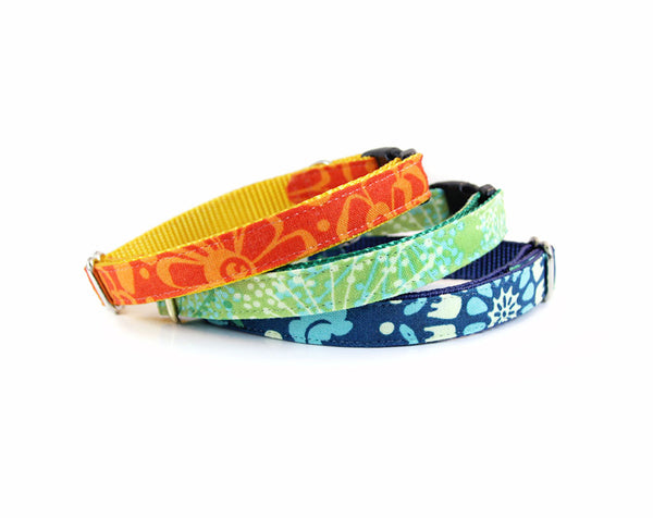 "Bow Tie Cat Collar Set - ""Tangerine Dream"" - Orange Beach Tropical Detachable Bow Tie + Matching Collar"