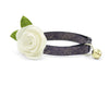 "Cat Collar + Flower Set - ""Twilight"" - Dark Slate / Eggplant w /  ""Ivory"" Felt Flower (Detachable)"