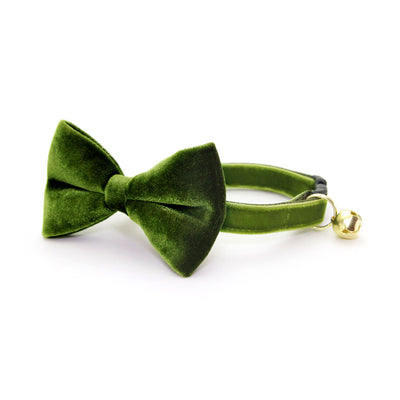 "Velvet Cat Bow Tie - ""Leaf Green""  - Vibrant Olive Green Velvet Bowtie / Wedding / For Cats + Small Dogs / Removable (One Size)"