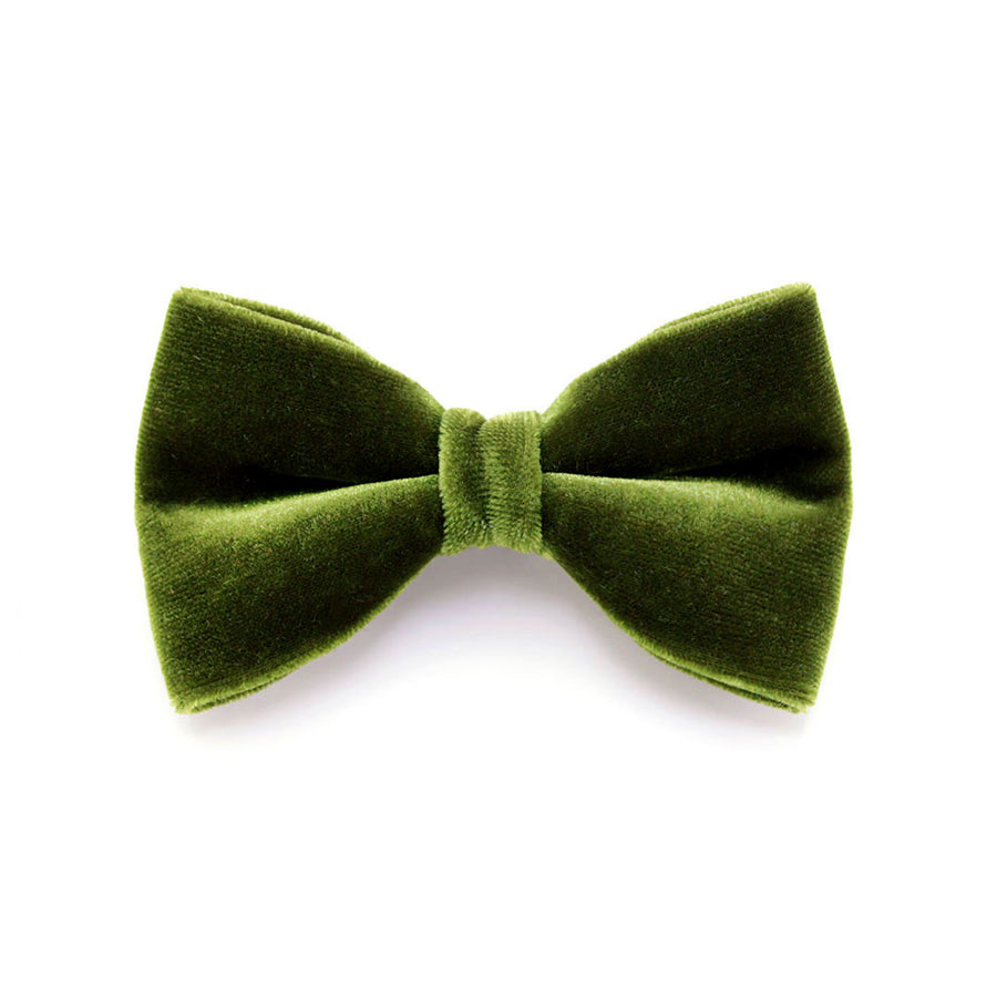 "Velvet Bow Tie Cat Collar Set - ""Leaf Green"" - Olive Velvet Cat Collar w/ Coordinating Bowtie (Removable) / Wedding"