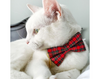 "Pet Bow Tie - ""Hearthside"" - Classic Red Tartan Plaid - Fall / Christmas / Winter - Detachable Bowtie for Cats + Dogs"