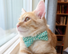 "Bow Tie Cat Collar Set - ""Mint Julep"" - Seafoam Gingham Plaid Cat Collar w/ Matching Bow Tie (Removable)"