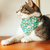"Pet Bandana - ""Cherry Blossoms"" - Teal / Mint Spring Floral Bandana for Cat Collar or Small Dog Collar / Slide-on Bandana / Over-the-Collar (One Size)"