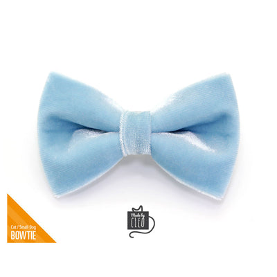 "Velvet Pet Bow Tie - ""Frosty Blue"" - Baby Blue / Light Blue Velvet Bowtie / Wedding / For Cats + Small Dogs / Removable (One Size)"