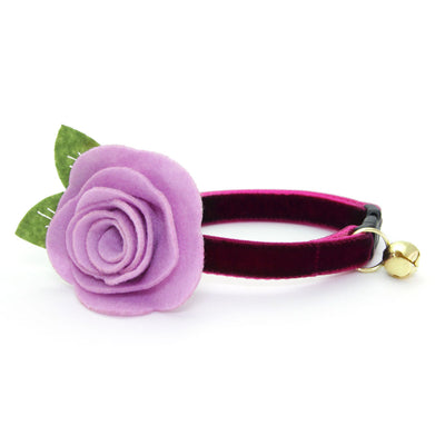 "Velvet Cat Collar - ""Merlot"" - Dark Wine / Burgundy Velvet - Breakaway Buckle or Non-Breakaway / Cat, Kitten + Small Dog Sizes"