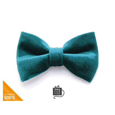 "Velvet Cat Bow Tie - ""Ocean Teal"" - Blue/Green Teal Velvet Bowtie / Wedding / For Cats + Small Dogs / Removable (One Size)"