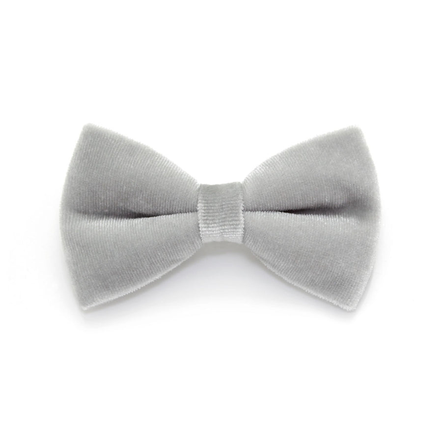 "Bow Tie Cat Collar Set - ""Discoball + Pale Gray Velvet Bow"" - Silver Sparkle Collar + Velvet Bow Tie (Removable)"