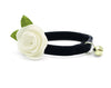 "Velvet Cat Collar + Flower Set - ""Onyx"" - Black Velvet Cat Collar w /  ""Ivory"" Felt Flower (Detachable)"