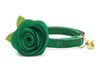 "Velvet Cat Collar with Flower Set - ""Emerald Green"" - Velvet Cat Collar with Clover Green Felt Flower (Detachable) / Breakaway or Non-Breakaway"