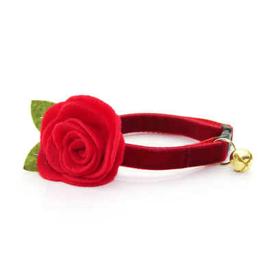 "Holiday Velvet Cat Collar + Flower Set - ""Garnet Red"" - Velvet Cat Collar w/ Scarlet Felt Flower (Detachable)"