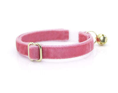 "Velvet Cat Collar - ""Rose Pink"" - Luxe Pink Velvet - Breakaway Buckle or Non-Breakaway - Cat + Small Dog Sizes"