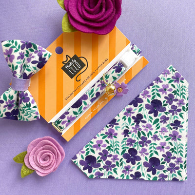"Pet Bow Tie - ""Violet Fields"" - Purple Floral Bow Tie for Cat / Spring + Summer / Cat, Kitten, Small Dog Bowtie (ONE SIZE)"