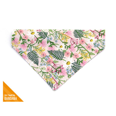 "Rifle Paper Co® Pet Bandana - ""Wildflowers - Pink"" - Floral Bandana for Cat Collar or Small Dog Collar / Slide-on Bandana / Over-the-Collar (One Size)"