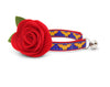 "Superhero Cat Collar with Flower Set - ""Wonder Woman"" - DC Comics Diana Cat Collar with Scarlet Red Felt Flower / Cat, Kitten & Small Dog Sizes"