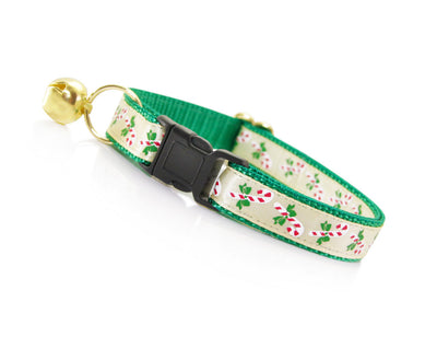 "Holiday Cat Collar - ""Yuletide Emerald"" - Festive Candy Canes on Green"
