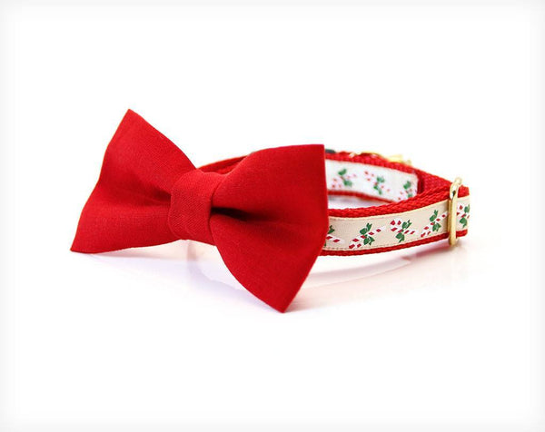 "Bow Tie Collar Set - Holiday Bow Tie Cat Collar Set - ""Yuletide Ruby"" - Red Detachable Bow Tie + Matching Christmas Collar"