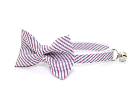 "Bow Tie Cat Collar Set - ""Liberty"" - Red & Blue Striped Seersucker Collar + Matching Detachable Bow Tie"
