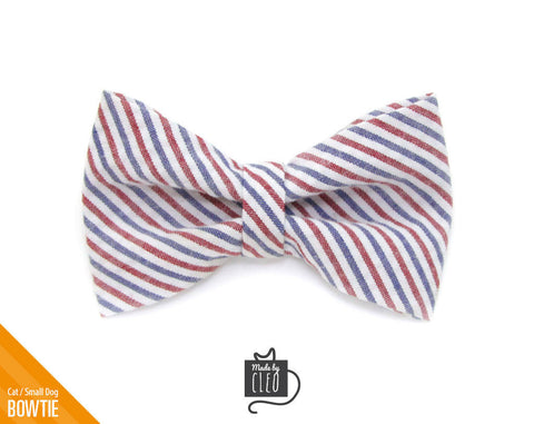 "Pet Bow Tie - ""Liberty"" - Red & Blue Striped Seersucker - Patriotic/4th of July - Detachable Bowtie for Cats + Dogs"