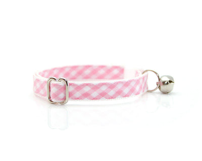 "Cat Collar - ""Annie"" - Pink Gingham Check Plaid - Breakaway Buckle or Non-Breakaway - Cat, Kitten & Small Dog Sizes"
