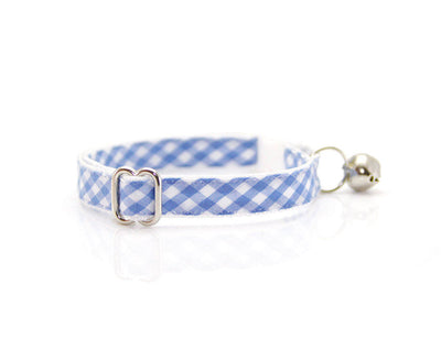 "Flower Cat Collar Set - ""Dreamboat"" - Blue Gingham Check Plaid Collar + Sky Blue Detachable Flower"