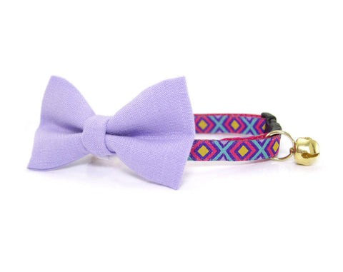 "Bow Tie Cat Collar Set - ""Riviera"" - Fuschia Pink & Purple w/ Gold + Teal  Collar + Coordinating 'Violet' Purple Detachable Bowtie"