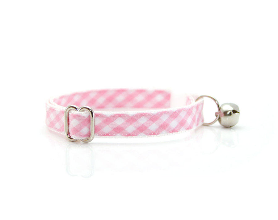 "Bow Tie Cat Collar Set - ""Annie"" - Pink Gingham Check Plaid Collar + Matching Detachable Bow Tie"