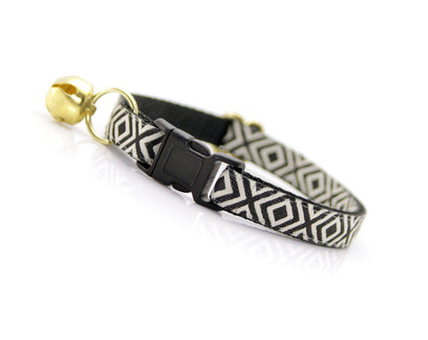 "Cat Collar - ""Ibiza"" - Black & Ivory - Boho/Tribal - Breakaway or Non-Breakaway - Cat + Small Dog Sizes"