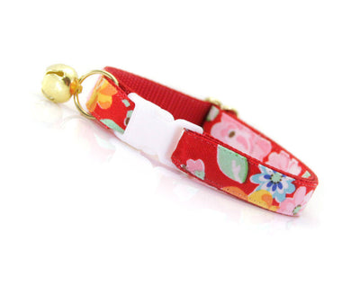 "Cat Collar - ""Sadie"" - Red Floral - Breakaway Buckle or Non-Breakaway - Cat, Kitten & Small Dog Sizes"