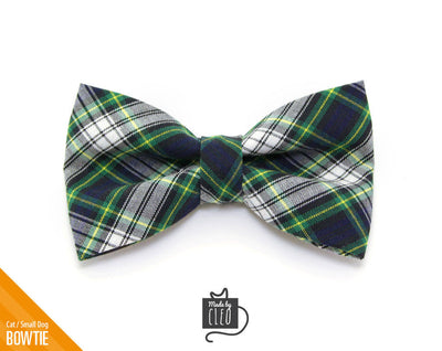 "Plaid Cat Bow Tie - ""Scout"" - Blue Cat Collar Bow Tie/Kitten Bow Tie/Small Dog Bow Tie - Removable (One Size)"