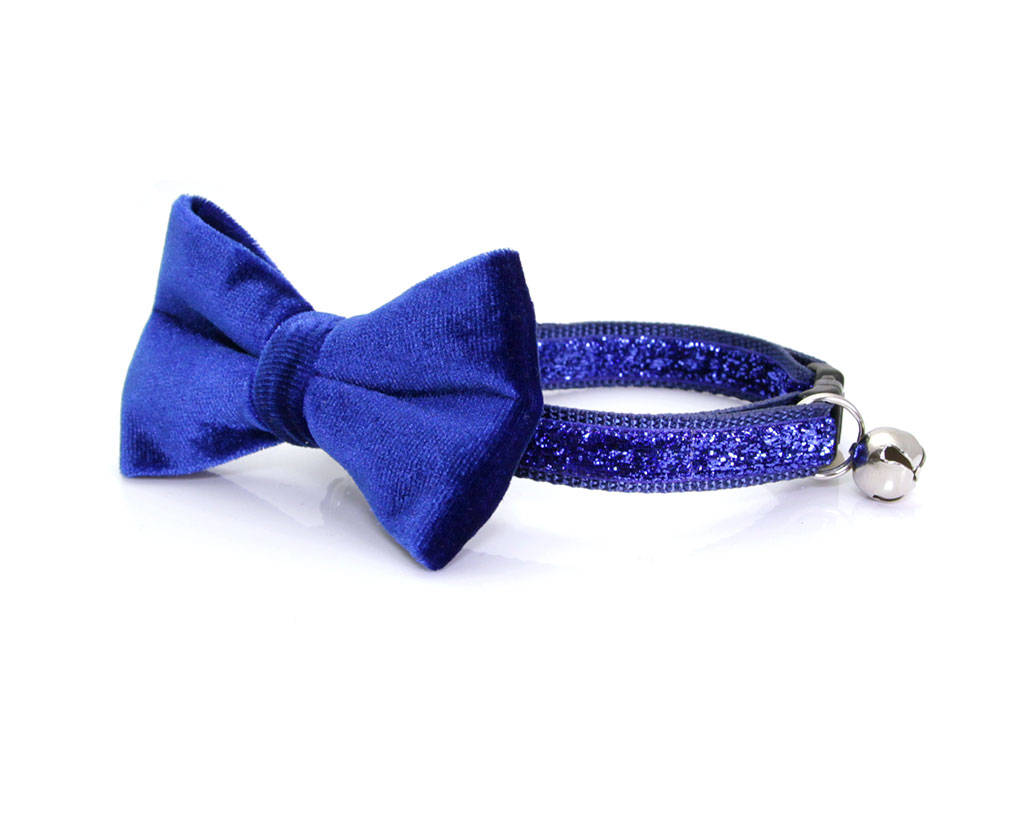 Velvet Cat Bow Tie Sapphire Blue Cat Collar Bow Tie Kitten Bow T Made By Cleo