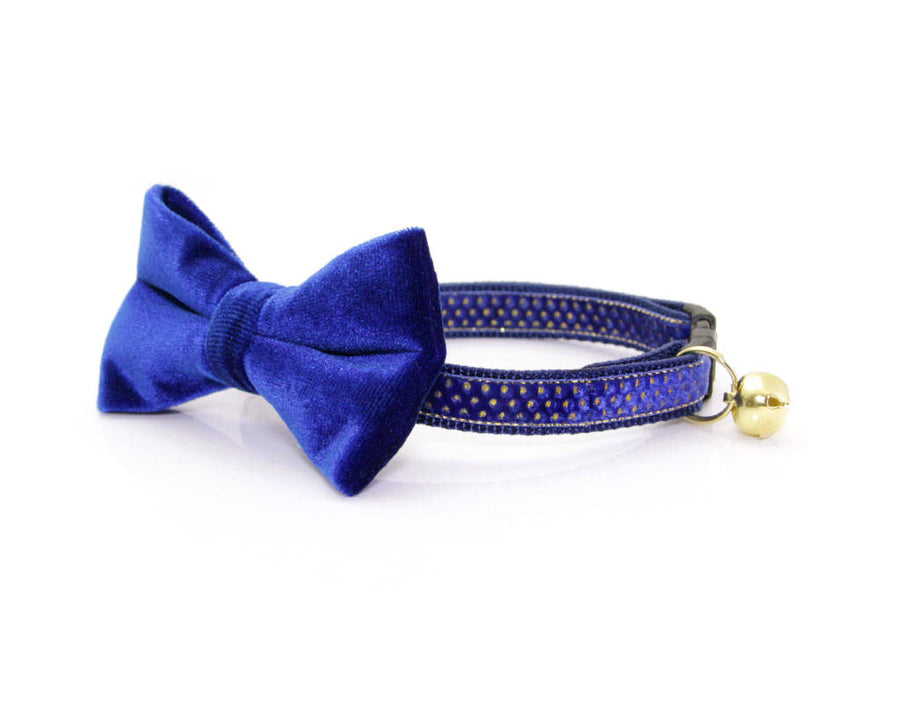 "Velvet Cat Bow Tie - ""Sapphire Blue"" - Cat Collar Bow Tie/Kitten Bow Tie/Small Dog Bow Tie - Removable (One Size)"