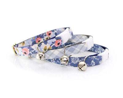 "Bow Tie Cat Collar Set - ""Amelie"" - Rifle Paper Co® Floral Cat Collar with Bow Tie (Removable) / Breakaway Collar or Non-Breakaway"