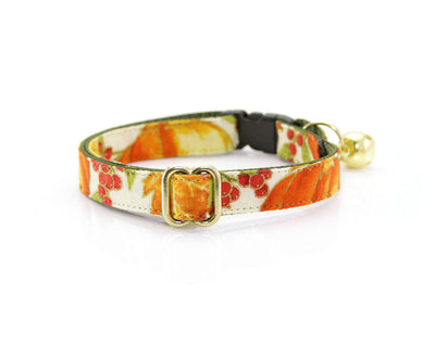 "Fall Bow Tie Cat Collar Set - ""Autumn Harvest"" - Pumpkin Cat Collar with Bow Tie (Removable)/Breakaway Collar or Non-Breakaway"