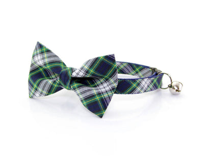 "Bow Tie Cat Collar Set - ""Scout"" - Blue Plaid Cat Collar with Bow Tie (Removable)/Breakaway Collar or Non-Breakaway"