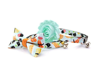 "Bow Tie Cat Collar Set - ""Sushi Date"" - Sushi Cat Collar + Bow Tie (Removable) / Breakaway or Non-Breakaway"