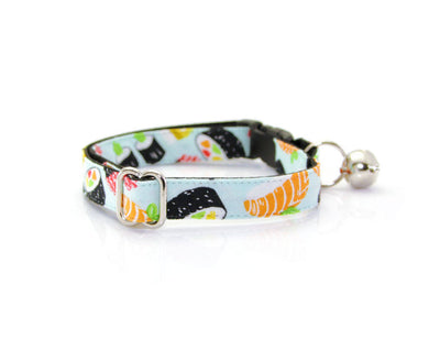 "Cat Collar - ""Sushi Date"" - Delicious Tuna & Salmon Delights - Breakaway Buckle or Non-Breakaway - Cat, Kitten + Small Dog Sizes"