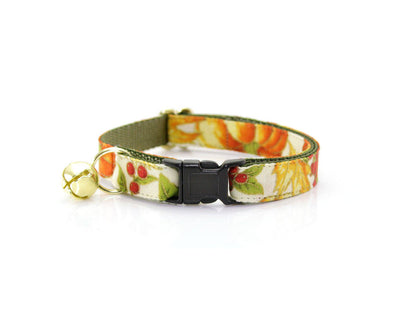 "Fall Cat Collar with Flower Set - ""Autumn Harvest"" - Pumpkin Cat Collar and Flower (Creamsicle Dot) - Breakaway/Non-Breakaway"