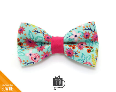 "Mint Cat Bow Tie - ""Clarabelle"" - Robin's Egg Cat Collar Bow Tie/Kitten Bow Tie/Small Dog Bow Tie - Removable (One Size)"