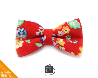 "Floral Cat Bow Tie - ""Sadie"" - Girl Cat Collar Bow Tie/Kitten Bow Tie/Small Dog Bow Tie - Removable (One Size)"