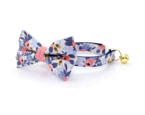 "Bow Tie Cat Collar Set - ""Amelie"" - Rifle Paper Co® Floral Cat Collar with Bow Tie (Removable)/Breakaway Collar or Non-Breakaway"