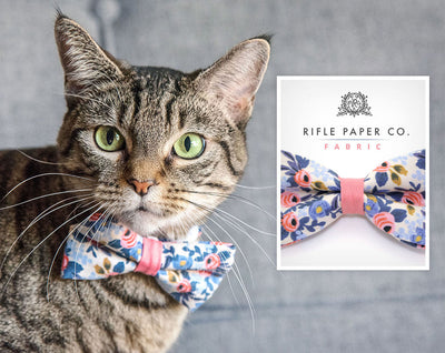 "Cat Collar - ""Amelie"" - Rifle Paper Co® Periwinkle & Coral Floral - Breakaway Buckle or Non-Breakaway - Cat, Kitten + Small Dog Sizes"