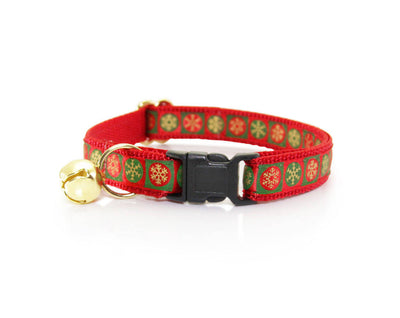 "Holiday Flower Cat Collar Set - ""Let It Snow / Red"" - Snowflake Cat Collar with Christmas Swirl Flower (Detachable) / Breakaway or Non-Breakaway"