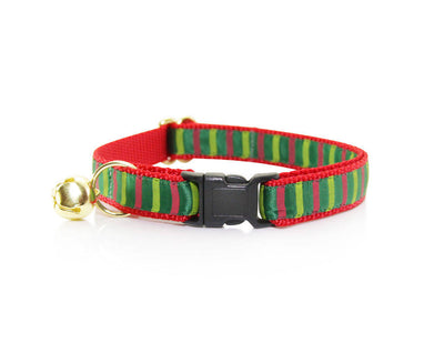 "Holiday Flower Cat Collar Set - ""Deck the Halls"" - Christmas Cat Collar with Scarlet Red Flower (Detachable) / Breakaway or Non-Breakaway"