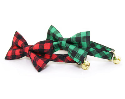 "Cat Bow Tie - ""Cozy Cabin Green"" - Buffalo Plaid Cat Collar Bow Tie / Kitten Bow Tie / Small Dog Bow - Removable, One Size"