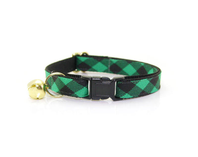 "Bow Tie Cat Collar Set - ""Cozy Cabin Green"" - Buffalo Plaid Cat Collar + Bow Tie (Removable) / Breakaway or Non-Breakaway"