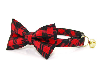 "Bow Tie Cat Collar Set - ""Cozy Cabin Red"" - Buffalo Plaid Cat Collar + Bow Tie (Removable) / Breakaway or Non-Breakaway"